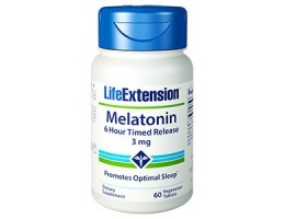 Life Extension Melatonin 6 Hour Timed Release 3 mg, 60 vegetarian tablets