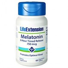 Life Extension Melatonin 6 Hour Timed Release 750 mcg, 60 vege tabs