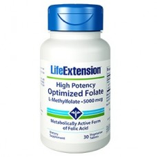 Life Extension High Potency Optimized Folate (L-Methylfolate) 5000mcg, 30 vegetarian tablets