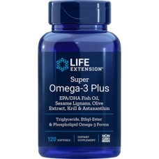 Life Extension Super Omega-3 Plus EPA/DHA with Sesame Lignans, Olive Extract, Krill & Astaxanthin, 120 softgels